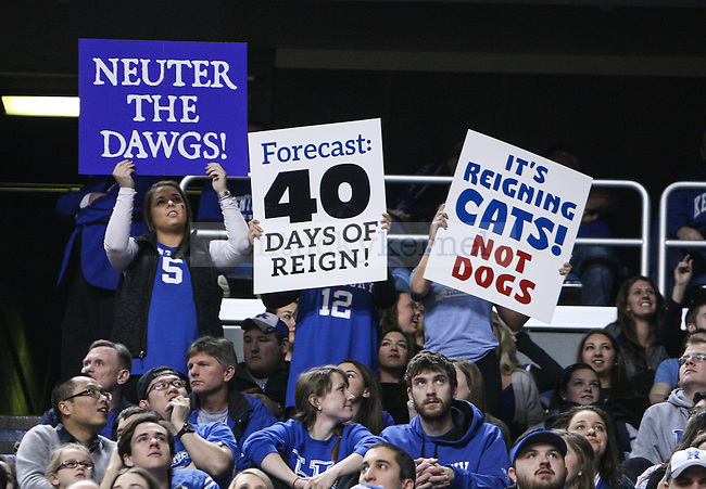 Kentucky fans show off signs in support of the team during the second half of the Kentucky vs. Georgia men's basketball game at Rupp Arena on Tuesday, February 3, 2015 in Lexington, Ky. Kentucky defeated Georgia 69-58. Photo by Adam Pennavaria | Staff