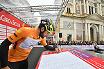 Riccardo Stacchiotti (ITA) Giotti Victoria wearing the Maglia Arancione at sign on before the start of Stage 3 of Il Giro di Sicilia running 186km from Caltanissetta to Ragusa, Italy. 5th April 2019.<br /> Picture: LaPresse/Massimo Paolone | Cyclefile<br /> <br /> <br /> All photos usage must carry mandatory copyright credit (&copy; Cyclefile | LaPresse/Massimo Paolone)