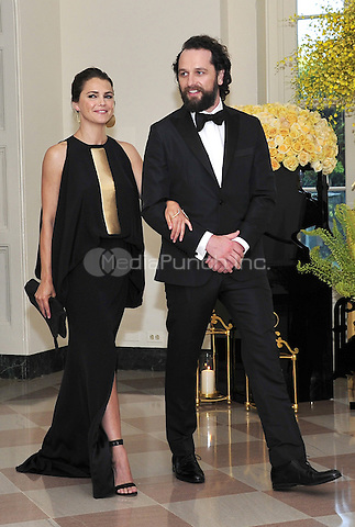 Actors Matthew Rhys and Keri Russell arrive for the State Dinner honoring Prime Minister Lee Hsien Loong of the Republic of Singapore at the White House in Washington, DC on Tuesday, August 2, 2016.<br /> Credit: Ron Sachs / Pool via CNP/MediaPunch