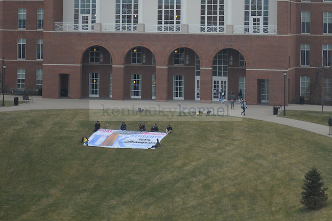 A banner protesting coal was placed on the lawn in front of the W T Young library.