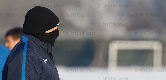Walter Smith well wrapped up in the -12C conditions at training