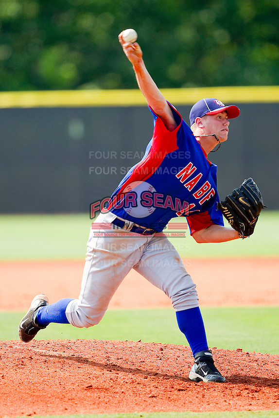 Carson Kelly #14 of NABF in action against the American Legion at the 2011 Tournament of Stars at the USA Baseball National Training Center on June 26, 2011 in Cary, North Carolina.  NABF defeated American Legion 5-0. (Brian Westerholt/Four Seam Images)