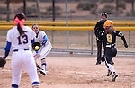 Western Nevada College Wildcats' Kristina George makes the throw to Kelsie Callahan against College of Southern Idaho's Amanda Sheets at Edmonds Sports Complex, in Carson City, Nev., on Friday, Feb. 27, 2015. <br /> Photo by Cathleen Allison/Nevada Photo Source