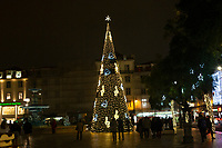 Lisbon, Portugal - December 23: A Christmas tree is seen at Rossio square in downtown Lisbon, Portugal December 23, 2019. <br /> The Christmas lights in Lisbon are getting more sophisticated and stunning each time, they are an attraction to locals and tourists to choose Lisbon as a place to spend the holidays<br /> (Photo by Luis Boza/VIEWpress/Corbis via Getty Images)