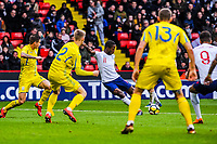 Fulham's midfielder Ryan Sessegnon (11) for England U21's  shot on goal is blocked during the International Euro U21 Qualification match between England U21 and Ukraine U21 at Bramall Lane, Sheffield, England on 27 March 2018. Photo by Stephen Buckley / PRiME Media Images.