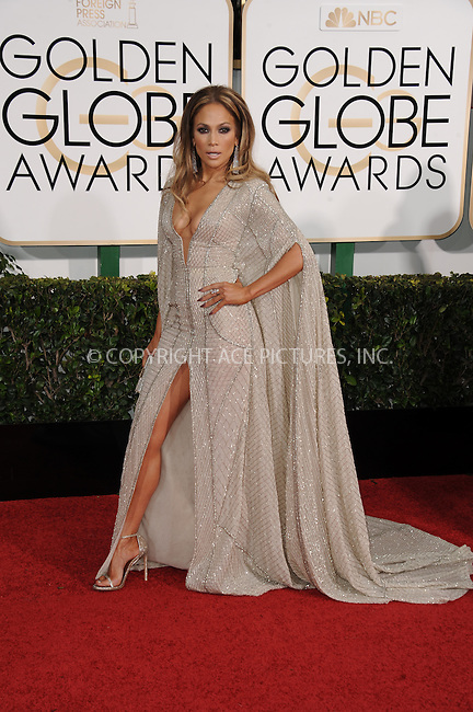 WWW.ACEPIXS.COM<br /> <br /> January 11 2015, LA<br /> <br /> Jennifer Lopez arriving at the 72nd Annual Golden Globe Awards at The Beverly Hilton Hotel on January 11, 2015 in Beverly Hills, California. <br /> <br /> <br /> By Line: Peter West/ACE Pictures<br /> <br /> <br /> ACE Pictures, Inc.<br /> tel: 646 769 0430<br /> Email: info@acepixs.com<br /> www.acepixs.com