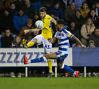 Leeds United's Mateusz Klich (left) crosses the ball despite the attentions of Reading's Liam Moore (right) <br /> <br /> Photographer David Horton/CameraSport<br /> <br /> The EFL Sky Bet Championship - Reading v Leeds United - Tuesday 12th March 2019 - Madejski Stadium - Reading<br /> <br /> World Copyright &copy; 2019 CameraSport. All rights reserved. 43 Linden Ave. Countesthorpe. Leicester. England. LE8 5PG - Tel: +44 (0) 116 277 4147 - admin@camerasport.com - www.camerasport.com