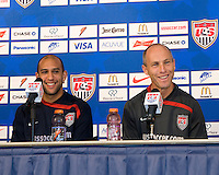 USA goalkeeper Tim Howard and USA men's head coach Bob Bradley participate in a press conference prior to the USA vs Mexico game at Reliant Stadium in Houston, TX on February 5, 2008.