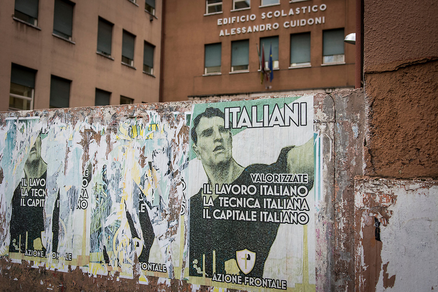 Fascist manifests outside a school in the Roman San Giovanni neighbourhood.