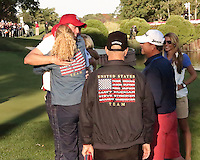 28 SEP 12  Vermont native Keegan Bradley gets a hug from his mom after Fridays foresome and four ball matches  at The 39th Ryder Cup at The Medinah Country Club in Medinah, Illinois.