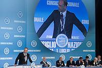 CONSIGLIO NAZIONALE DEL POPOLO DELLA LIBERTA ED ELEZIONE DEL NUOVO SEGRETARIO DEL PARTITO ANGELINO ALFANO...NELLA FOTO ANGELINO ALFANO DURANTE IL SUO INTERVENTO E A SINISTRA IL COMITATO DIRETTIVO CON SILVIO BERLUSCONI..ROMA 1 LUGLIO  2011..PHOTO SERENA CREMASCHI INSIDEFOTO..............................