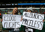 4th November 2017, Twickenham Stadium, Twickenham, England; Autumn International Rugby, Barbarians versus New Zealand; New Zealand fans pose with banners for the New Zealand players inside the Twickenham Stadium