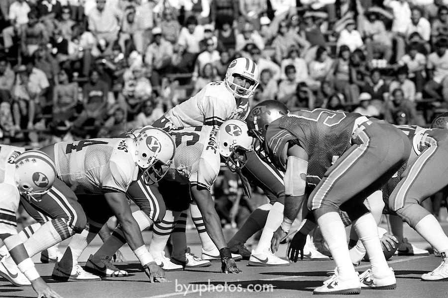 FTB 403 F 2 Colorado<br /> <br /> Football- BYU vs University of Colorado. 8 Steve Young Quarterback.<br /> <br /> Sept 26, 1981<br /> <br /> Box Number: 6371<br /> <br /> Photo by: Mark Philbrick/BYU<br /> <br /> Copyright BYU PHOTO 2008<br /> All Rights Reserved<br /> 801-422-7322<br /> photo@byu.edu