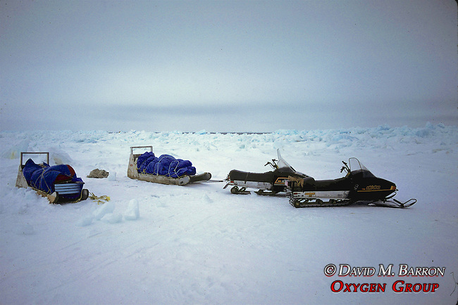 Snowmobiles & Sled With Equipment