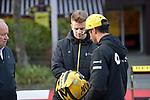 11.04.2019, Shanghai Audi International Circuit, Shanghai, 2019 FORMULA 1 HEINEKEN CHINESE GRAND PRIX<br /> im Bild<br />Nico H&uuml;lkenberg (GER#27), Renault F1 Team mit seinem Helm gehalten im Uralt-Design, Daniel Ricciardo (AUS#3), Renault F1 Team<br /> <br /><br /> <br /> Foto &copy; nordphoto / Bratic