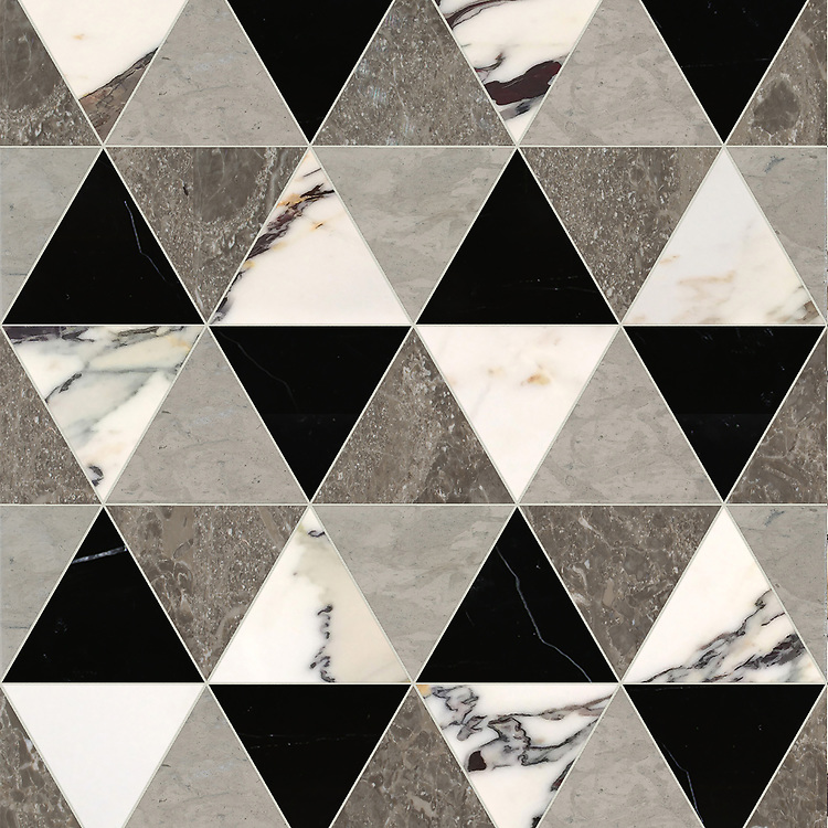 Diamont Grand, a hand-cut stone mosaic, shown in polished Plumeria, Kehena, Nero Marquina, and honed Palomar, is part of the Semplice® collection for New Ravenna.