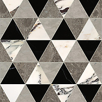 Diamont Grand, a hand-cut stone mosaic, shown in polished Plumeria, Kehena, Nero Marquina, and honed Palomar, is part of the Semplice™ collection for New Ravenna.