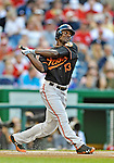 18 May 2012: Baltimore Orioles outfielder Xavier Avery in action against the Washington Nationals at Nationals Park in Washington, DC. The Orioles defeated the Nationals 2-1 in the first game of their 3-game series. Mandatory Credit: Ed Wolfstein Photo