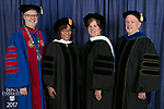 Left to right, the Rev. Dennis H. Holtschneider, C.M., president of DePaul, commencement speaker and honorary degree recipient Sharon Draper, a distinguished teacher and celebrated novelist, honorary degree recipient Sister Margaret Mary Fitzpatrick, S.C., president and CEO of St. Thomas Aquinas College in New York, Paul Zionts, dean of the College of Education. DePaul University College of Education held its commencement ceremony, Saturday, June 10, 2017, at the Rosemont Theatre in Rosemont, IL. The Rev. Dennis H. Holtschneider, C.M., president of DePaul, conferred the degrees. (DePaul University/Jeff Carrion)