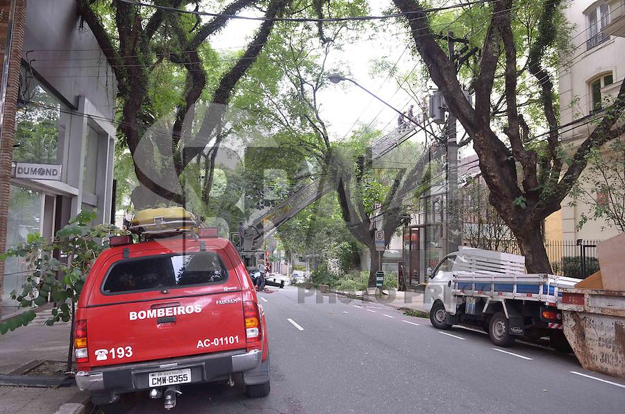 SAO PAULO, 26 DE FEVEREIRO DE 2013. - ARVORE CONSOLACAO SP - Homens do Corpo de Bombeiros trabalham em retirada de arvore que ameaçava cair na Consolacao, altura da rua Oscar Freire, na tarde desta terca feira, 26, regiao sul da capital. A rua Consolacao segue interdtada a partir da Oscar Freire.  (FOTO: ALEXANDRE MOREIRA / BRAZIL PHOTO PRESS)