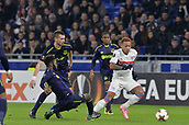 2nd November 2017, Nice, France; EUFA Europa League, Olympique Lyonnais versus Everton;  Memphis Depay (lyon)breaks away from Beni Baningime (everton)