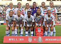 Jacksonville, FL - Thursday April 5, 2018: USWNT starting eleven vs Mexico during an International friendly match versus the women's National teams of the United States (USA) and Mexico (MEX) at EverBank Field.