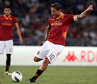 AS Roma forward Francesco Totti kicks the ball during an Europa League preliminary second leg football match between AS Roma and SK Slovan Bratislava, at Rome's Olympic stadium, Roma, 25 august 2011..UPDATE IMAGES PRESS/Riccardo De Luca