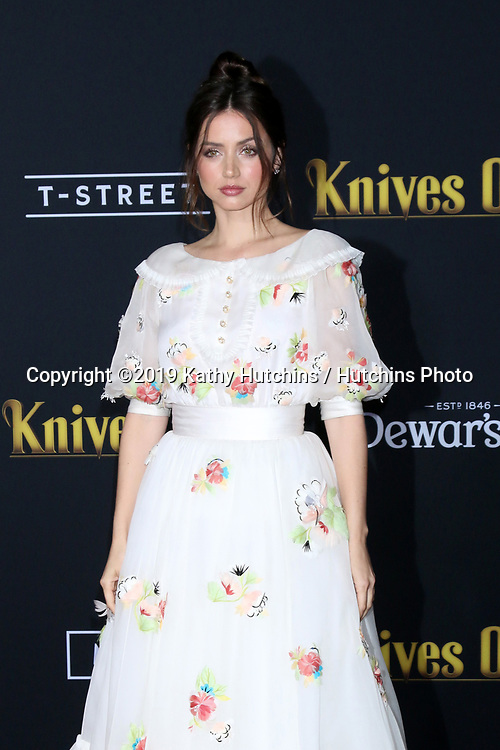 "LOS ANGELES - NOV 14:  Ana de Armas at the ""Knives Out"" Premiere at Village Theater on November 14, 2019 in Westwood, CA"