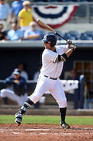 Charlotte Stone Crabs catcher Maxx Tissenbaum (8) at bat during a game against the Daytona Tortugas on April 14, 2015 at Charlotte Sports Park in Port Charlotte, Florida.  Charlotte defeated Daytona 2-0.  (Mike Janes/Four Seam Images)