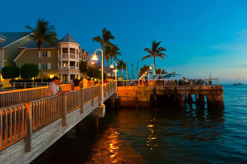 Sunset celebration, Mallory Square, Key West, Florida Keys, Florida USA