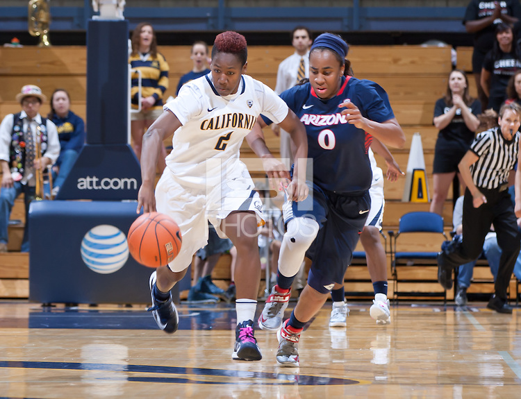 February 10th, 2013: California's Afure Jemeribe dribbles down the court alongside Arizona's Davellyn Whyte during a game at Haas Pavilion in Berkeley, Ca.   California defeated Arizona 91 - 86