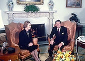 "United States President Ronald Reagan meets Prime Minister Margaret Thatcher of Great Britain for the first time as President in the Oval Office of the White House in Washington, D.C. on Thursday, February 26, 1981.  Thatcher died from a stroke at 87 on Monday, April 8, 2013..Credit: Benjamin E. ""Gene"" Forte / CNP"