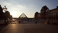 Glass pyramid by I. M. Pei, rising from the centre of the Cour Napoléon, Louvre Museum, Paris, France. Inaugurated March 30, 1989 Picture by Manuel Cohen