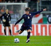 Amy LePeilbet kicks the ball. US Women's National Team defeated Germany 1-0 at Impuls Arena in Augsburg, Germany on October 29, 2009.