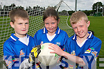 STARS: Young football from the Castleisland District enjoying the Kerry VHI Cul Camp in Castleisland on Friday last..L/r. Conor Mitchell (Cordal), Shauna Dennehy Moriarty (Castleisland) and Kevin Moriarty  (Castleisland.   Copyright Kerry's Eye 2008