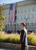 United States President Barack Obama commemorates the 11th anniversary of the 9-11 attacks with a wreath laying ceremony at the Pentagon, on September, 11, 2012 in Arlington, Virginia..Credit: Olivier Douliery / Pool via CNP