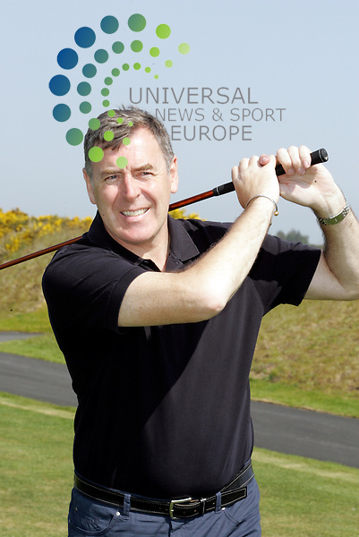 Pat Bonor having a wee swing.Tommy Burns Masters golf fund raisin . tournament in aid of the Tommy Burns Skin Cancer Trust played over the Dundonald links.<br />
