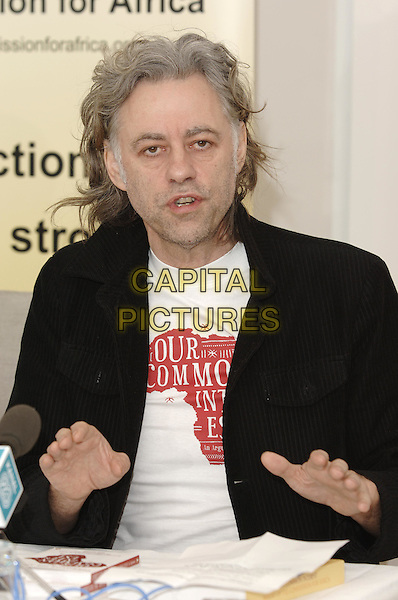 "Sir BOB GELDOF.At Press Launch for  Penguin published book ""Our Common Interest, The Comission for Africa: An Arguement"".(Bob is co-founder of LiveAid) .Penguin, 80 Strand, .London 9 June 2005.half length hands gesture.Ref: PL.www.capitalpictures.com.sales@capitalpictures.com.© Phil Loftus/Capital Pictures."