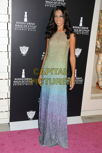 Terri Seymour.Rodeo Drive Walk Of Style Honoring Iman And Missoni Held On Rodeo Drive, Beverly Hills, California, USA..October 23rd, 2011.full length green blue ombre silver maxi dress gold beige sleeveless .CAP/ADM/BP.©Byron Purvis/AdMedia/Capital Pictures.