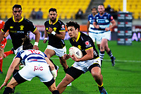 Thomas Umaga-Jensen in action during the Mitre 10 Cup rugby match between Wellington Lions and Auckland at Westpac Stadium in Wellington, New Zealand on Thursday, 4 October 2018. Photo: Mike Moran / lintottphoto.co.nz