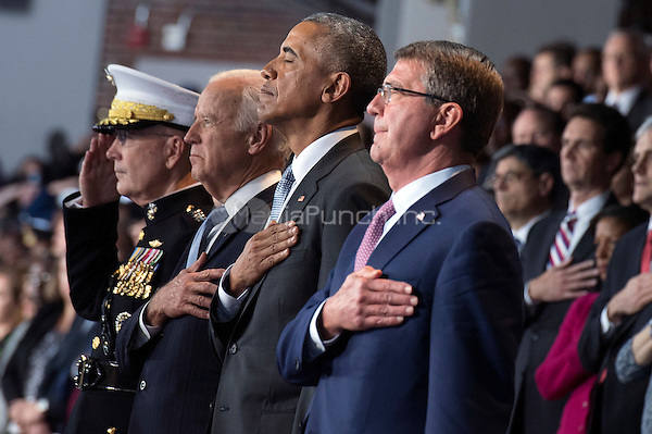 United States President Barack Obama (2nd-R), Vice President Joe Biden (2nd-L) Chairman of the Joint Chiefs of Staff Gen. Joseph Dunford Jr. (L) and Secretary of Defense Ashton Carter stand for the National Anthem during President Obama's Armed Forces Full Honor Review Farewell Ceremony at Joint Base Myers-Henderson Hall, in Virginia on January 4, 2017. The five braces of the military honored the president and vice-president for their service as they conclude their final term in office. <br /> Credit: Kevin Dietsch / Pool via CNP /MediaPunch