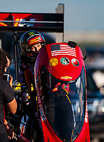 Jun 1, 2018; Joliet, IL, USA; NHRA top fuel driver Brittany Force during qualifying for the Route 66 Nationals at Route 66 Raceway. Mandatory Credit: Mark J. Rebilas-USA TODAY Sports