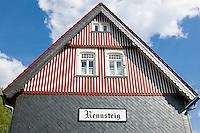 Germany, Thuringia, near Schmiedefeld am Rennsteig: station Rennsteig - facade | Deutschland, Thueringen, bei Schmiedefeld am Rennsteig: Bahnhof Rennsteig der Rennsteigbahn - Fassade