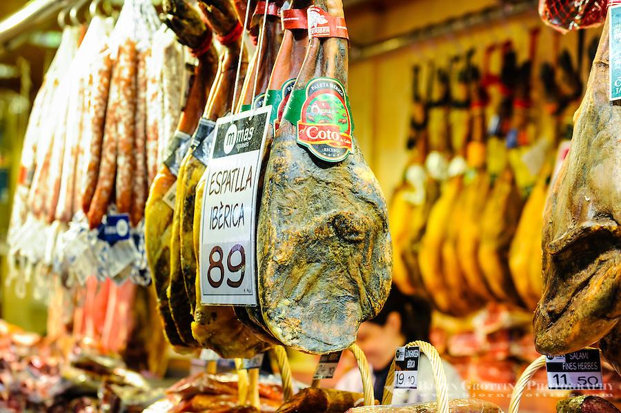 Spain, Barcelona. Market at La Rambla in central Barcelona.