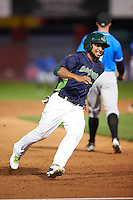 Vermont Lake Monsters second baseman Jesus Lopez (2) running the bases during a game against the Hudson Valley Renegades on September 3, 2015 at Centennial Field in Burlington, Vermont.  Vermont defeated Hudson Valley 4-1.  (Mike Janes/Four Seam Images)
