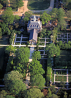 Aerial view of the Governor's Palace at Colonial Williamsburg in Virginia. Historical, Gardens,. Williamsburg Virginia USA.