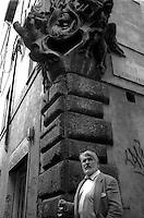 March 1997..Swiss actor Mario Adorf in Rome , in Via del Pellegrino