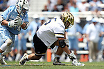 DURHAM, NC - APRIL 30: Notre Dame's John Travisano, Jr. (5) and UNC's Stephen Kelly (24). The University of North Carolina Tar Heels played the University of Notre Dame Fighting Irish on April 30, 2017, at Koskinen Stadium in Durham, NC in a 2017 ACC Men's Lacrosse Tournament Championship match. UNC won the game 14-10.
