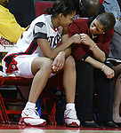 "(RU WOMENS BASKETBALL)--On Sun Dec 28,2003-ruwomen1228D--32301-Rutgers #32 (LEFT)-gets her ""props"" from head coach C. Vivian Stringer (right)-as Newton was the high scorer as Rutgers beat Old Dominion at the Louis Brown Athletic Center in Piscataway. (MARK R. SULLIVAN/HNT CHIEF PHOTOGRAPHER)"