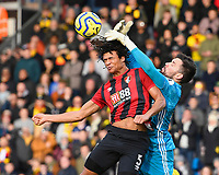 Ben Foster of Watford reaches the ball ahead of Nathan Ake of Bournemouth during AFC Bournemouth vs Watford, Premier League Football at the Vitality Stadium on 12th January 2020